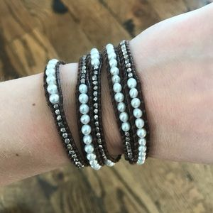 Chan Luu Leather & Beaded Wrap Bracelet