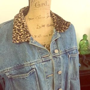 Vintage denim & leopard jacket