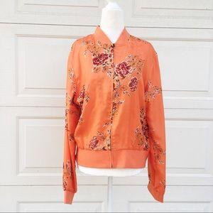 Vintage 100% Silk Floral Lightweight Jacket