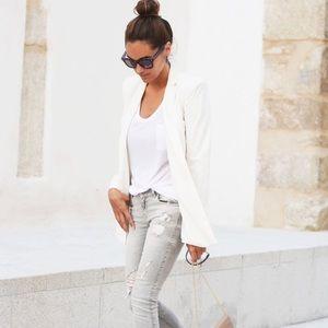 Zara white asymmetric blazer