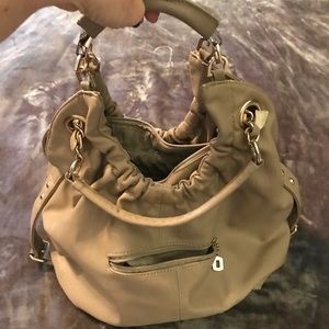 JUSTFAB Taupe color handbag with gold chain detail