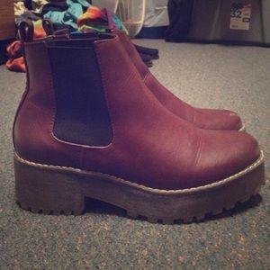 Slip on platform boots
