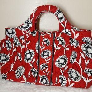 Vera Bradley Deco Daisy Red Floral Handbag Purse