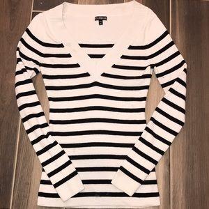 Express Black/White stripped V-neck Sweater