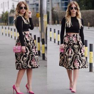 High Waist Floral Pleated Skirt