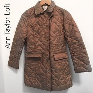Loft Nylon/Polyester Quilted Long Golden Coat XSP