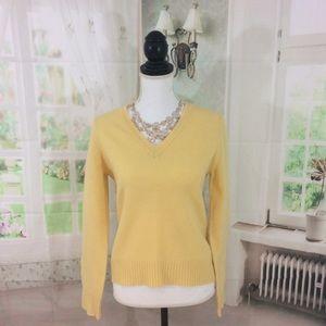 J. Crew Yellow V-Neck Lamb's Wool Sweater