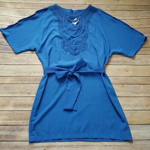 NWT Arden B blue lace neckline shift dress Large