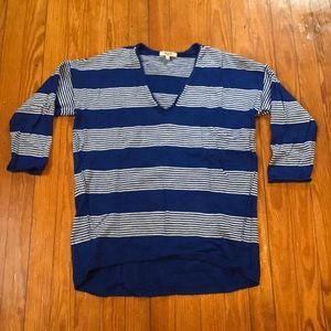Madewell Oversized 3/4 Blue & White Stripe Sweater