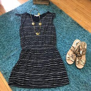 💟 LOFT Striped Sleeveless M Black and Cream Dress