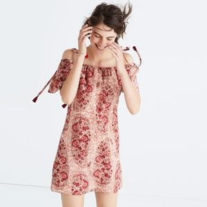 Madewell cold-shoulder dress watercolor paisley