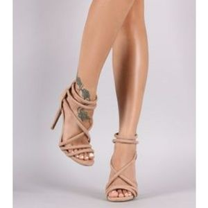 Qupid Suede Crisscross Straps Stiletto Heel