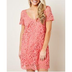 NWT BB Dakota City Escape Coral Lace Dress