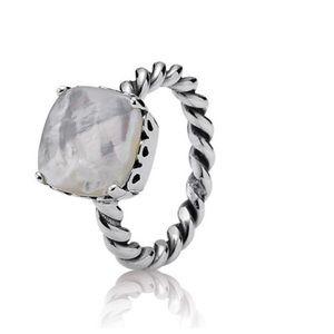 Pandora Elegant Sincerity Twist Ring, Mother Pearl