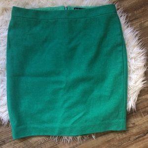 [J. Crew] Wool Green Pencil Skirt