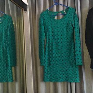 Green mid length dress