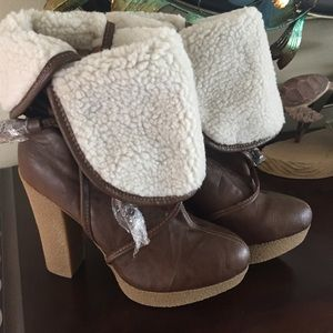 BROWN platform HIGH HEEL  BOOTS  W/Faux fur SZ 7