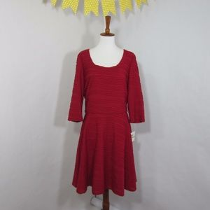 Donna Morgan NWT Red A-Line Dress 3/4 Sleeve *MM23