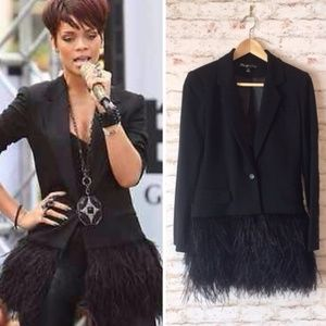 Black Blazer with REAL Ostrich Feathers