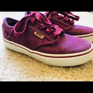Maroon/plum kids vans. Great condition.