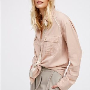 Free People Nude metallic trim buttons up