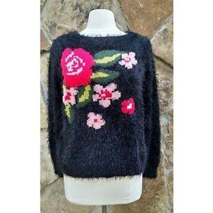 Jessica Simpson Long Sleeve Black Fuzzy Sweater