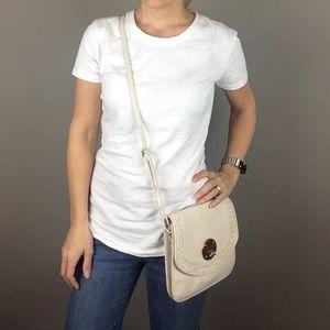 Elliot Lucca winter white leather crossbody bag