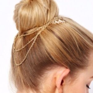 Gold Leaves Layered Chains Hair Comb