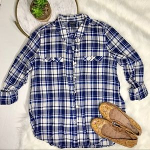 Lucky Brand Plaid Blue Button Down