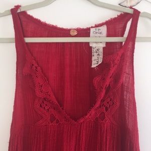 {Free People} NWOT swing top with crochet detail