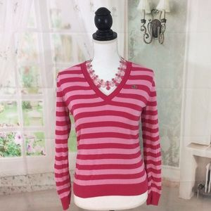 LACOSTE V-NECK PINK STRIPED SWEATER 💯 AUTHENTIC