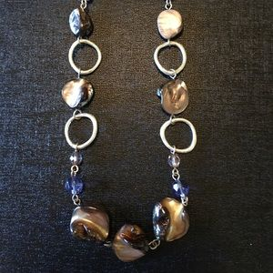 Gorgeous brown stone with purplish bead necklace