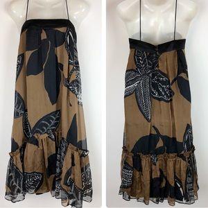 Zara Basic Silk Swing Dress XS Brown Black Floral