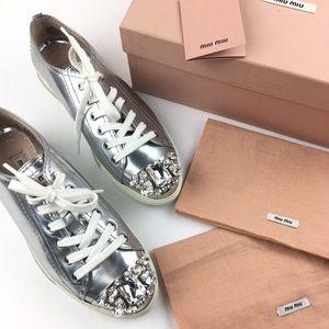 sale retailer e01ff dd9a6 Miu Miu Silver Crystal Swarovski Leather Sneakers