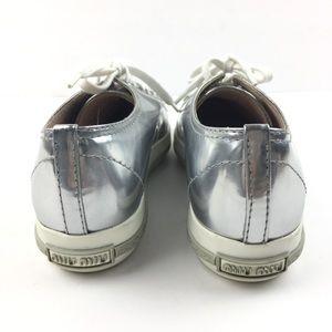 24fd6f6a640 Miu Miu Shoes - Miu Miu Silver Crystal Swarovski Leather Sneakers