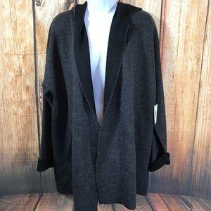 NEW Max Studio Merino Wool Blend Hooded Cardigan