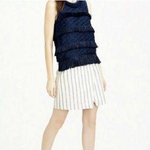 J. Crew Linen Crossover Wrap Skirt Blue Stripe