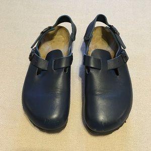 Birkenstock blue clogs