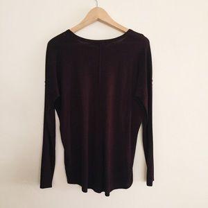 H&M Maroon Drop Shoulder T Shirt