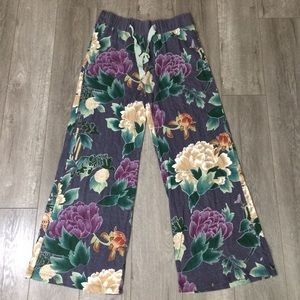 Anthropologie lilka wide leg Floral lounge pants M