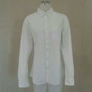 Banana Republic white seersucker  blouse Sz L