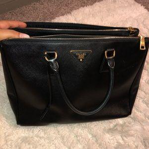 Prada Black Leather Saffiano Luxe Tote