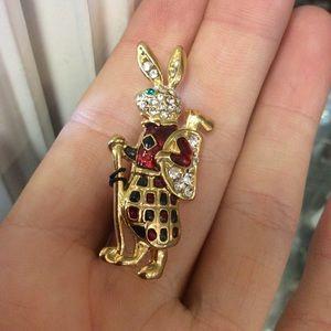 Enamel Golfing Bunny Rabbit Brooch