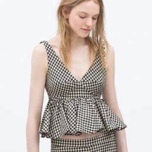 Zara gingham peplum crop top NWOT Large