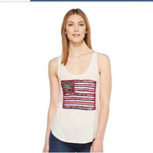 Lucky Brand Flag Patch Tank Natural Large