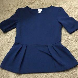Navy peplum blouse size 6