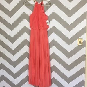 MSK Peach Orange Gold Neck Pleated Maxi Gown 8 NWT