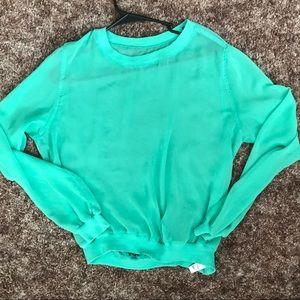 American apparel chiffon long sleeve blouse