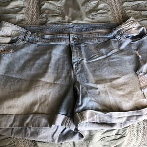 Light Wash Distressed Shorts