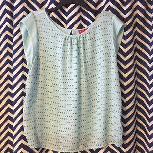Teal and grey polka dot short sleeve top